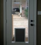 Lewisville Doggie door in glass door installation_LD Glass Co